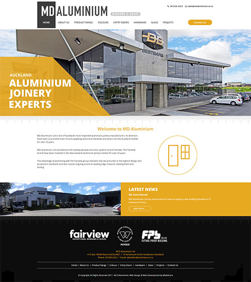 MD Aluminium Website