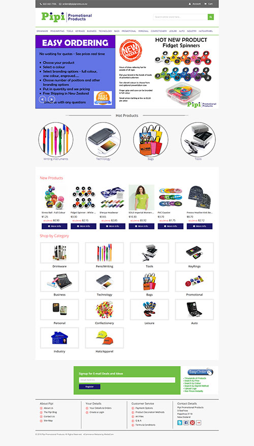 Pipi Promotional Products website